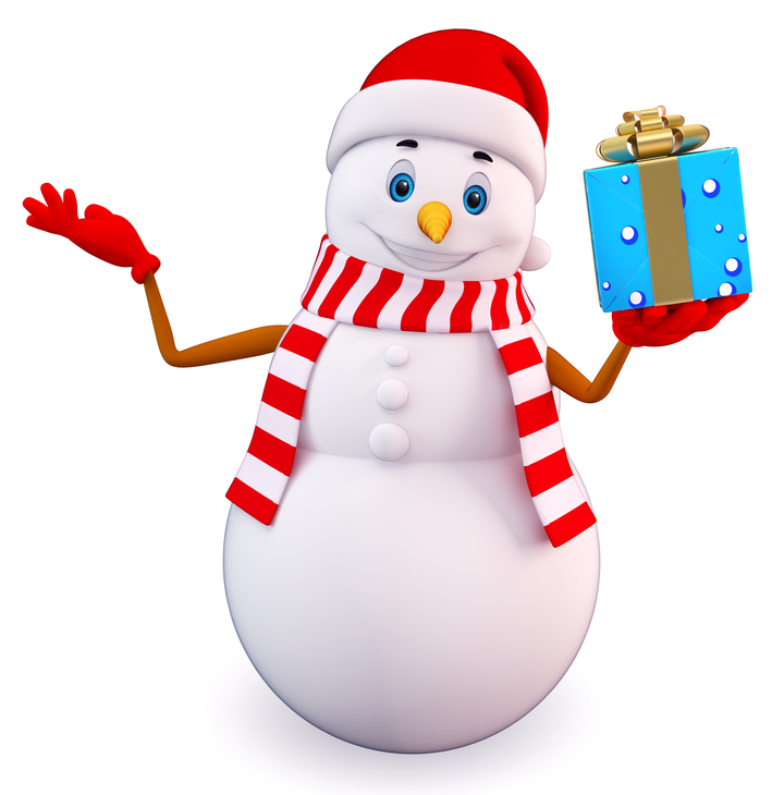 Snowman with a Gift - 3D Image