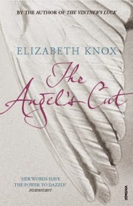 Cover art for The Angel's Cut, featuring the tip of a white wing that stretches across the entire length of the cover. The title is superimposed over it in purple.
