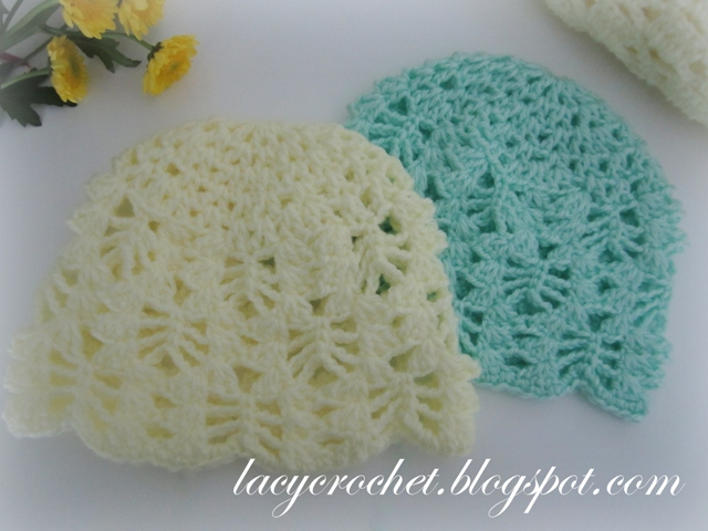 Crochet Newborn : Lacy Crochet: Baby Hats Free Patterns