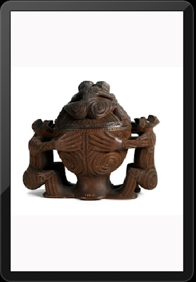 Kumete (Round Bowl with two figure supports with lid) late 19th century - Maori artis Anaha Te Rahu
