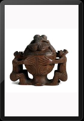 Kumete (Round Bowl with two figure supports with lid) late 19th century - Maori artis Anaha Te Rahu