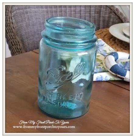 Vintage Blue Mason Jar-Thrift Store Shopping- From My Front Porch To Yours
