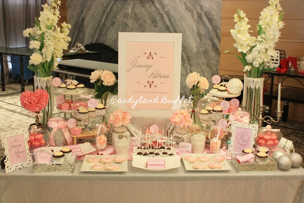 Pink Silver Wedding Theme Candyland Buffet