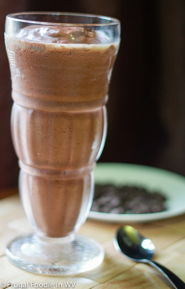 click for recipe for chocolate avocado shake, can be made vegan