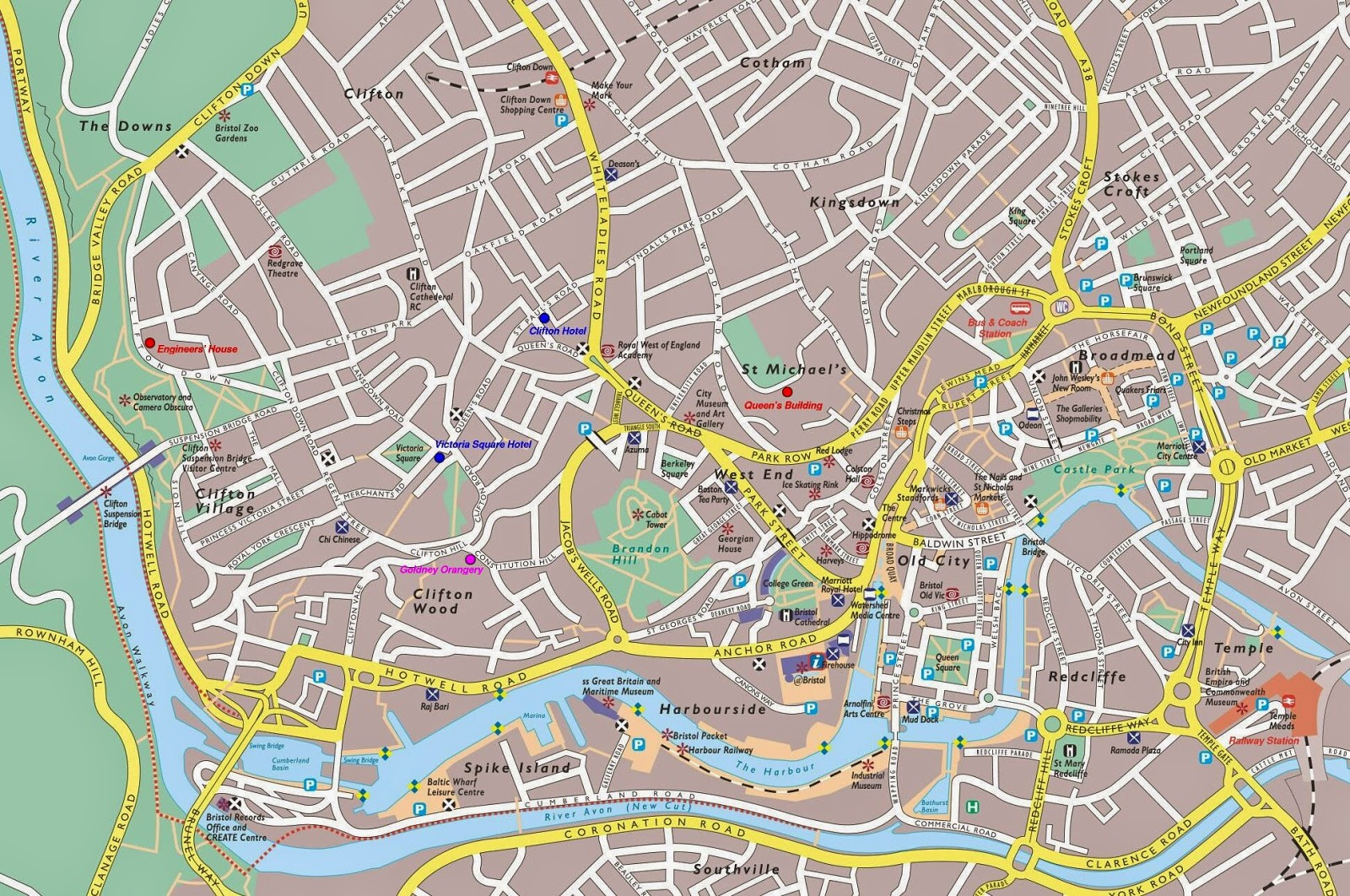 Detailed map of Bristol, England, UK
