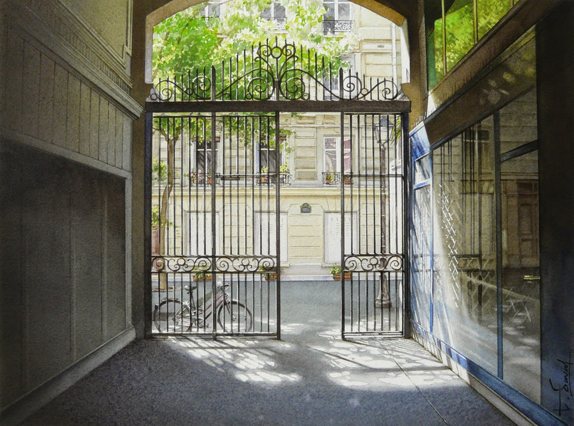 08-The-Portal-Thierry-Duval-Snippets-of Real-Life-in Watercolor-Paintings-www-designstack-co