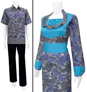 Baju Batik Sarimbit Dress Kerah Rampel