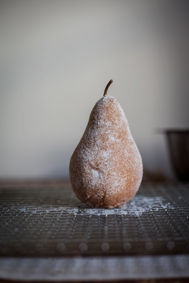 To make the candied pear, brush the pear with the simple syrup and ...