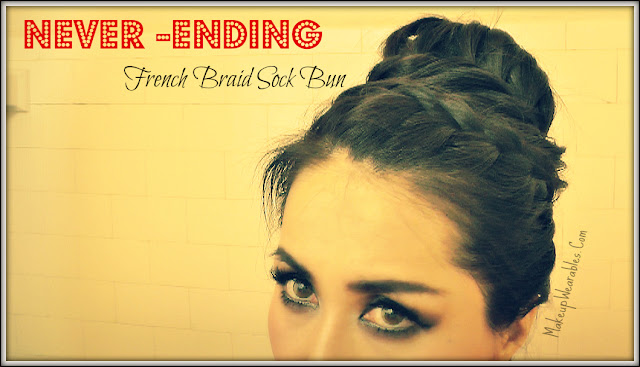 Braided donut/sock bun updo hairstyle video tutorial for medium long hair.  Wedding, Prom, Bridal hairstyles/updos