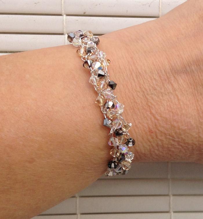 Glittery Wire Crochet Crystal Bracelet c