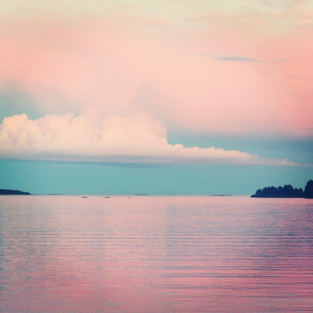 Хельсинки Вуосаари Финский залив закат