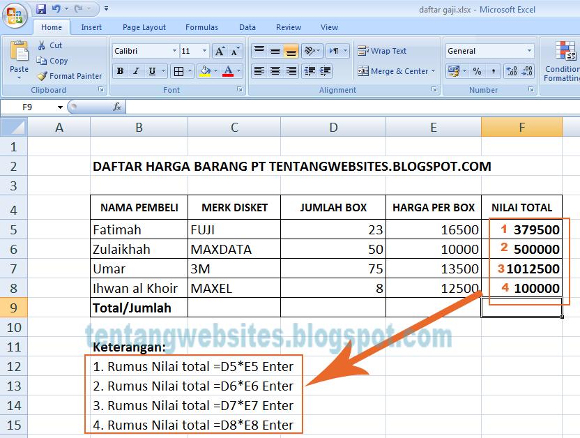 Praktik latihan Excel 1 daftar penjualan barang