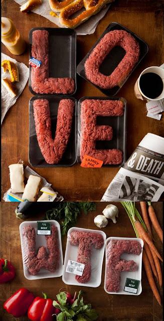 carne picada envasada en forma de letras