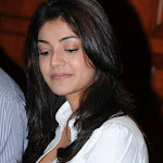 Kajal Agarwal Super Sexy Cleavage Show In White Shirt.