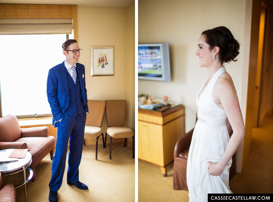 Bride and Groom's first look. NYC Lifestyle wedding photography by Cassie Castellaw. www.cassiecastellaw.com