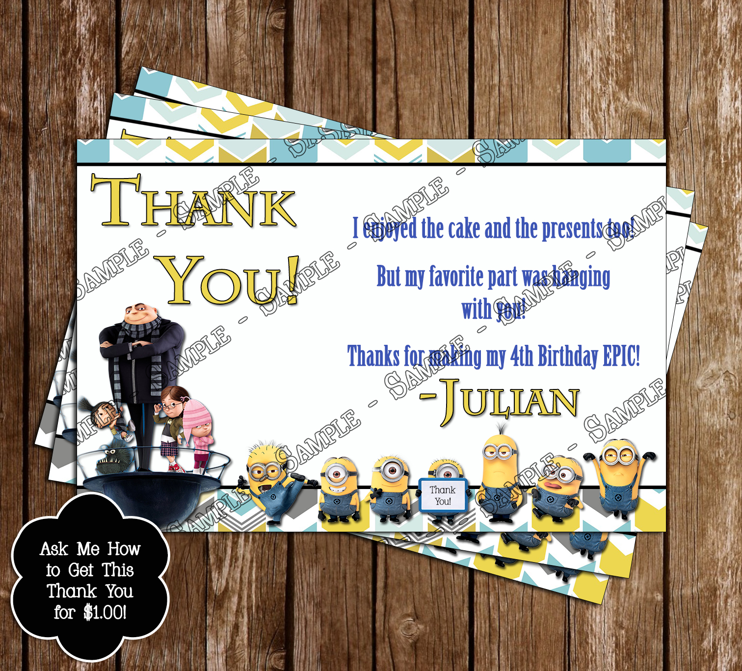 Novel Concept Designs Despicable Me Birthday Invitations and