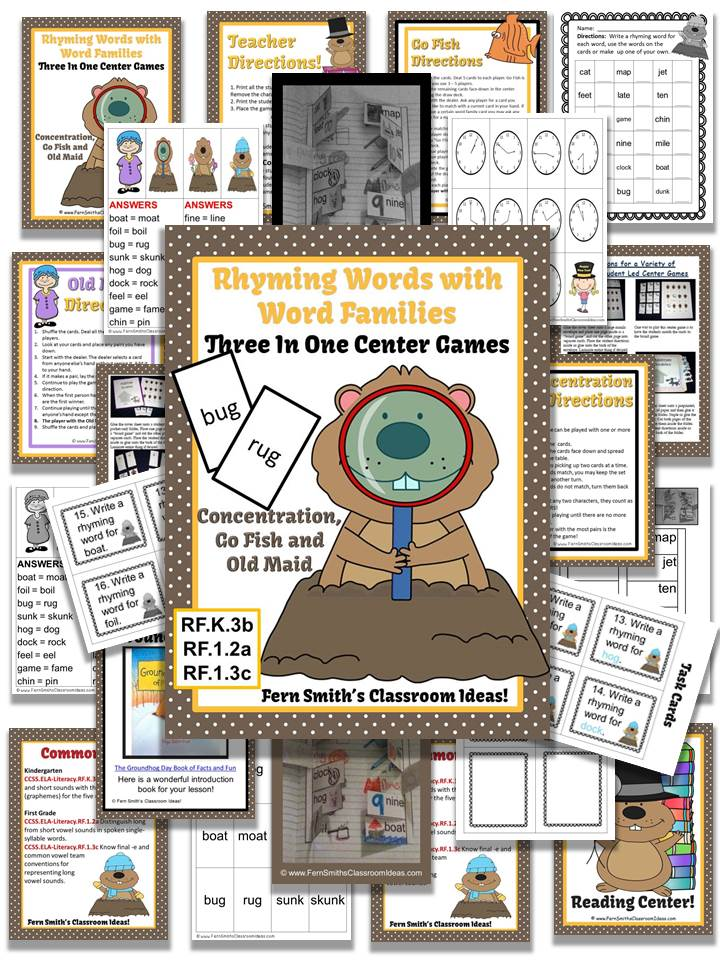 Groundhog Rhyming Words Word Families Center Games & Interactive Notebook Pages