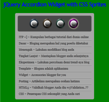 jQuery Accordion Widget with CSS Sprites