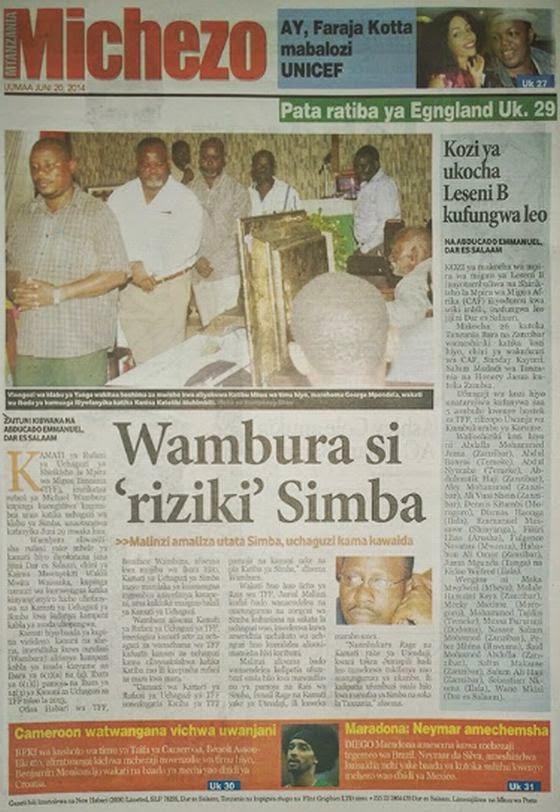 Magazeti ya Leo Ijumaa ya tarehe 20 June 2014