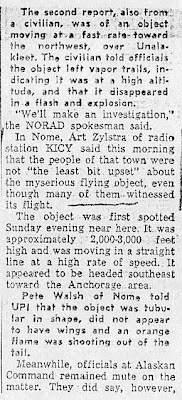 NORAD PROBES FLYING OBJECT - Anchorage Daily News (Part 3) 2-16-1960