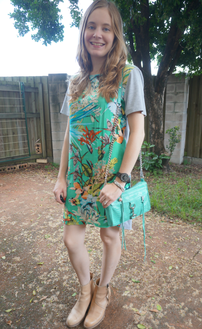Summer botanical print tee dress acne pistol ankle boots Rebecca Minkoff mini MAC bag