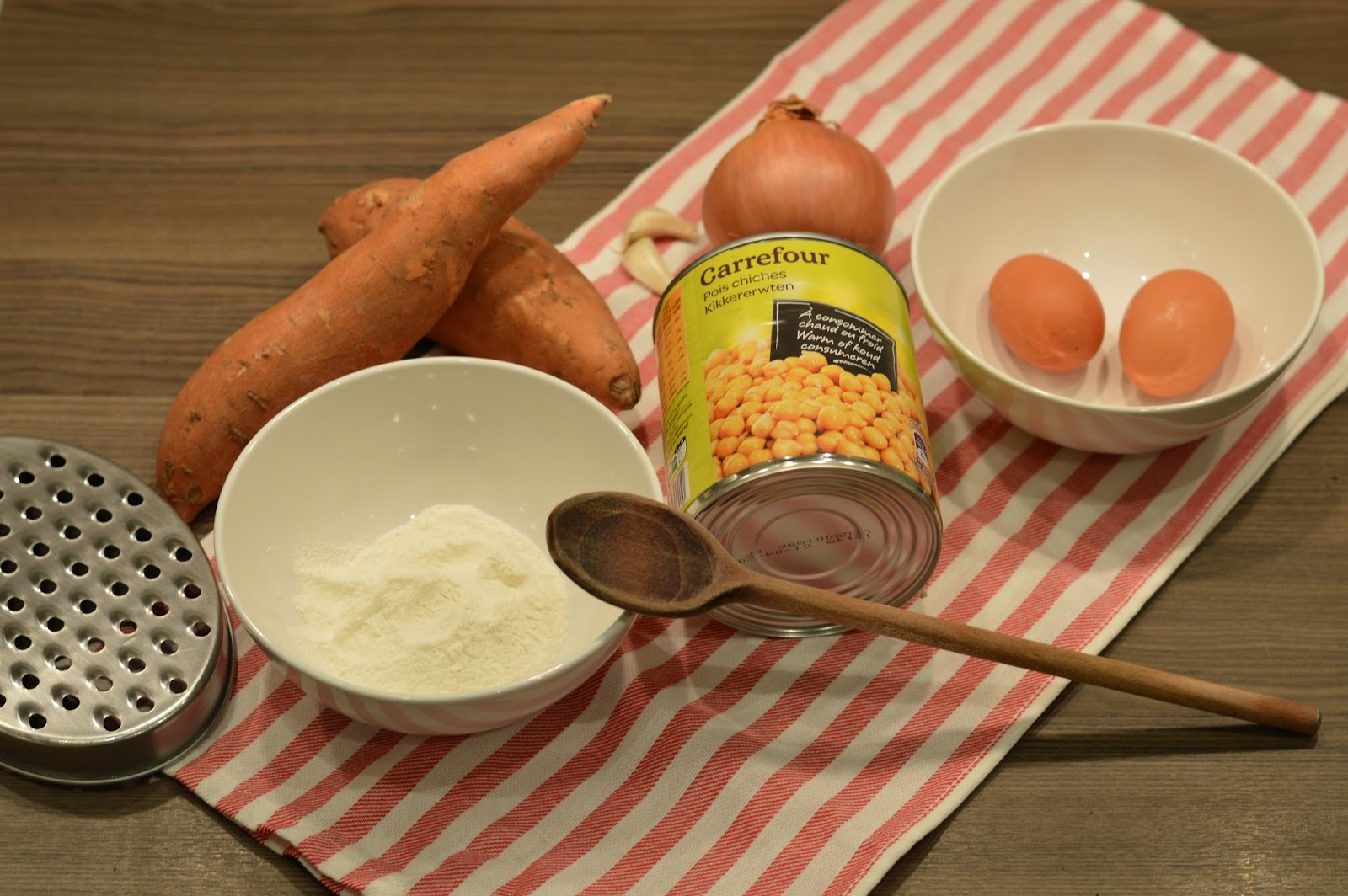 Ingredients, what you will need to make vegetarian recipe sweet potato and chickpea cakes burgers patties