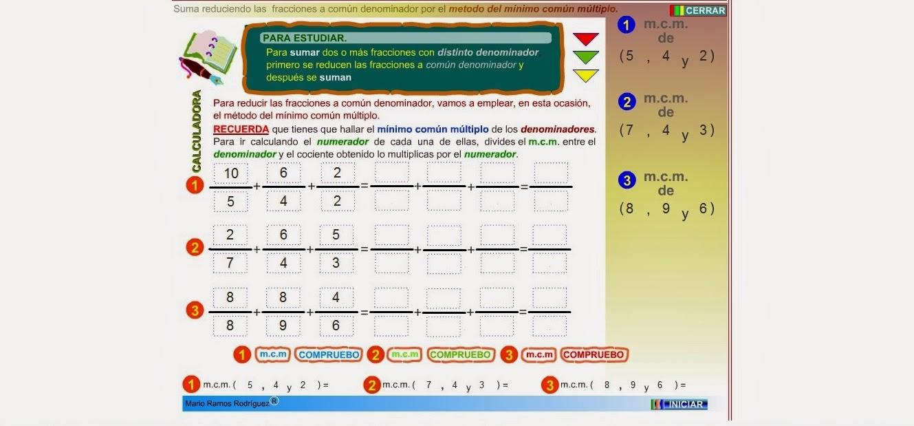 http://www.gobiernodecanarias.org/educacion/3/WebC/eltanque/todo_mate/fracciones_e/ejercicios/suma_mcm_p.html
