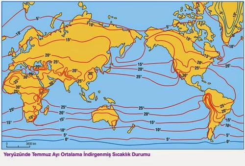 D�nya Temmuz Ay� Ortalama �ndirgenmi� S�cakl�k (�zoterm) Haritas�