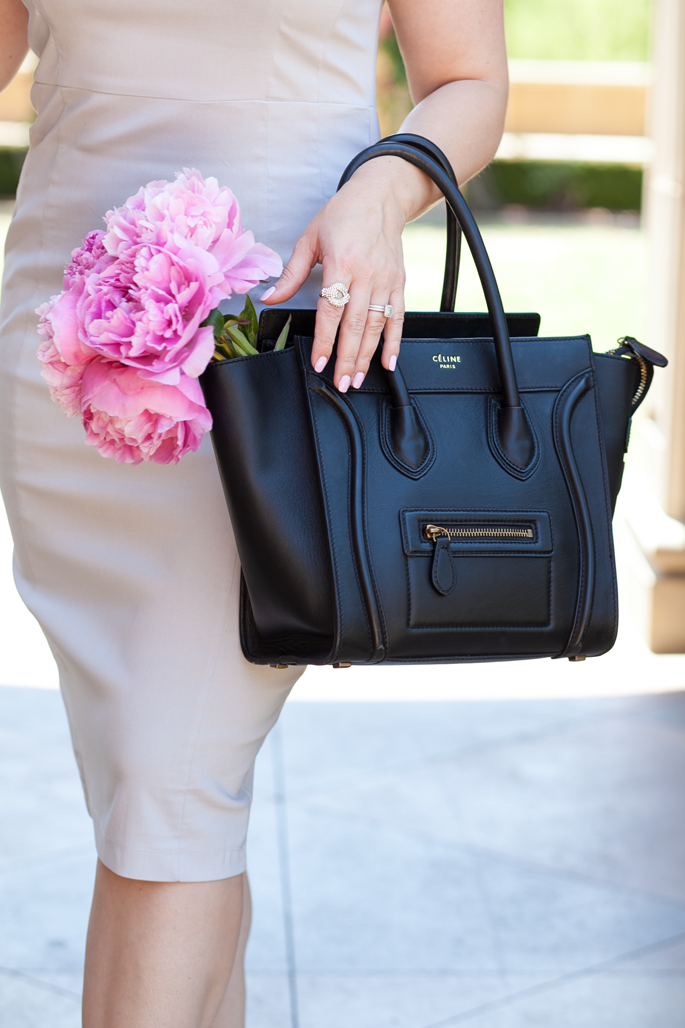 pink peonies, celine bag, pave ring, gray pencil dress, king and kind blog