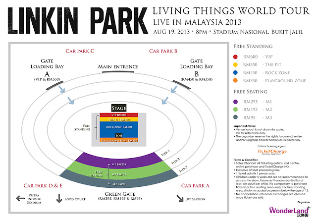 Linkin Park 'Living Things' Live In Malaysia 2013 Seating Plan