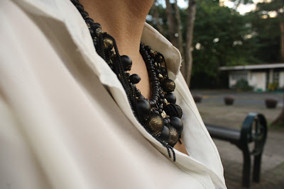 Affordable black beaded necklace from bazaar