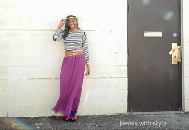spring trends 2015, spring outfits 2015, new spring trends, striped crop top, purple maxi skirt, panama hat, how to wear a maxi skirt, are maxi skirts still in, wearing black and brown, jewels with style, black style blogger, black fashion blogger, columbus blogger, columbus fashion blogger