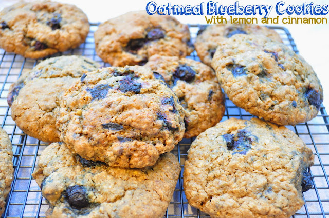 oatmeal blueberry cookies with lemon and cinnamon