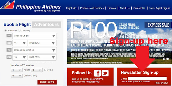 Sign-up for FlyPAL Express promo fares newsletter