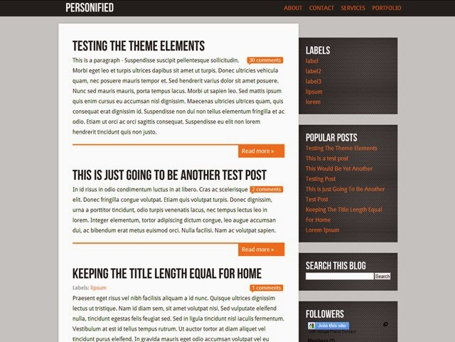 Personified Free Blogger Template Download