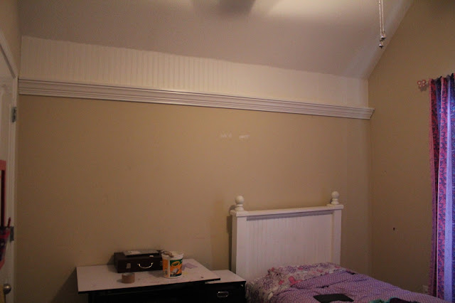 DIY Crown Moulding Shelf, beadboard wallpaper