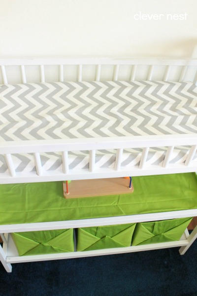 how to get tons more storage out of your changing table! easy diy fabric wrapped boxes #free #nursery #lime #chevron