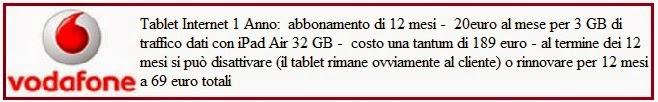 costi e condizioni abbonamento vodafone tablet internet 1 anno con ipad