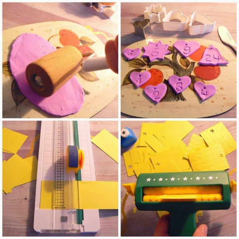 Pappe Karton Modeliermasse lila gelb Sterne stanzen Stanzer Locher schneiden