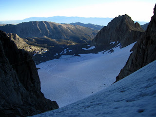 Looking back down at the Palisade Glacier from the gully.