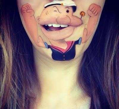 Body Painting Model Baru Pada Bibir Yang Unik