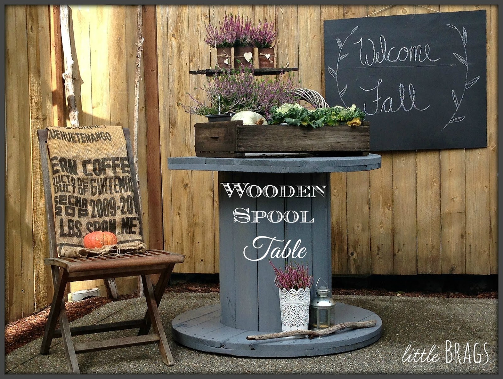 Wooden Spool Fire Pit Table