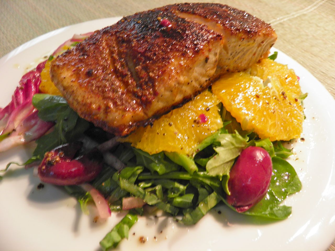 ... What's for Dinner: Moroccan Spiced Salmon with Orange Basil Salad