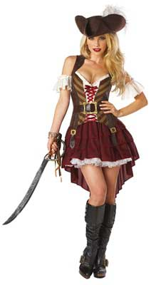 chica disfrazada de pirata