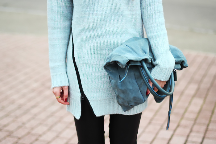 zip mint sweater, zipper pullover, letaher pats, coccinelle bag