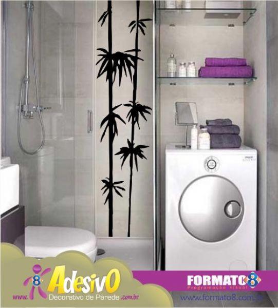 Blog de Decorar Banheiro Decorado com Adesivo, Papel Contact e Pastilhas Ade -> Banheiro Pequeno Com Maquina De Lavar