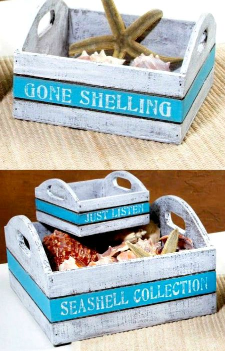 Wood Trays|Boxes with Beach Saying