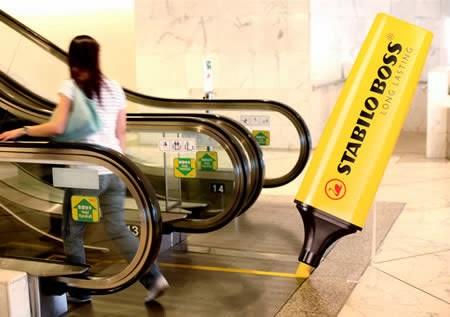 stabilo Ads on escalators