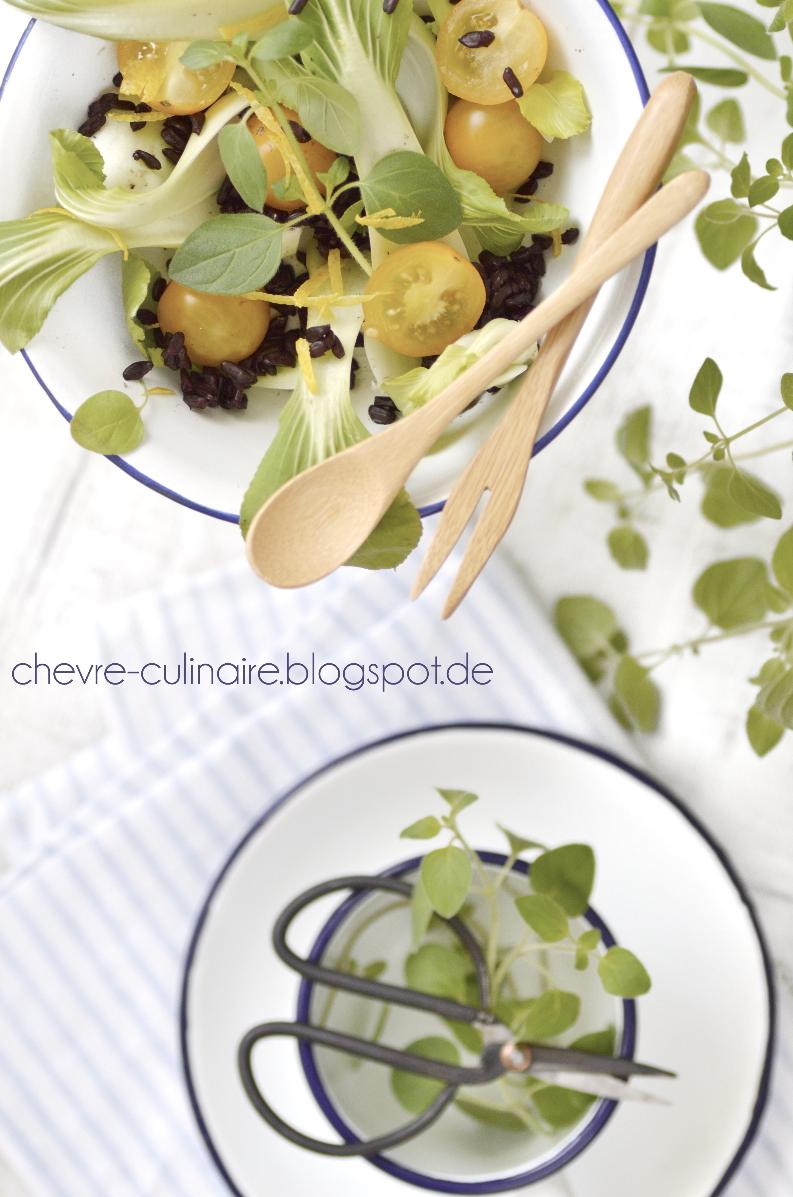 ch vre culinaire rezept pak choi salat mit schwarzem reis vegan laktosefrei glutenfrei. Black Bedroom Furniture Sets. Home Design Ideas