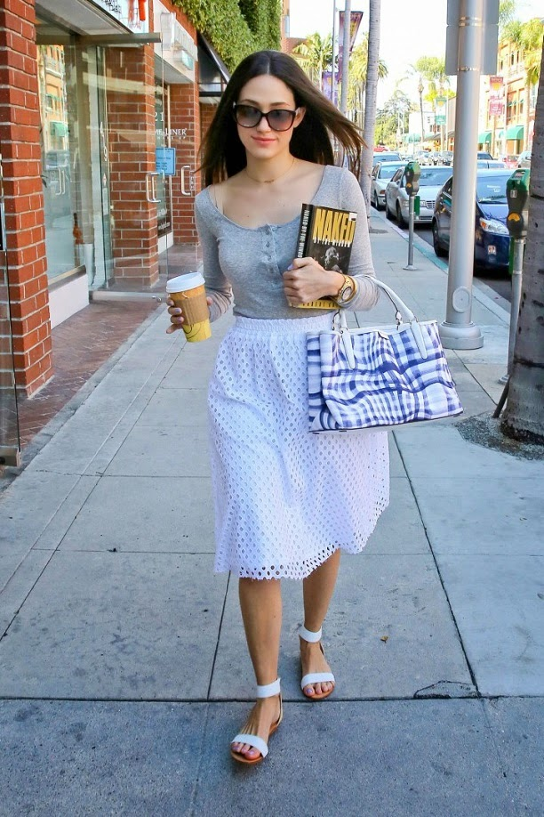 Emmy Rossum in a high-waisted eyelet skirt out and about in Beverly Hills